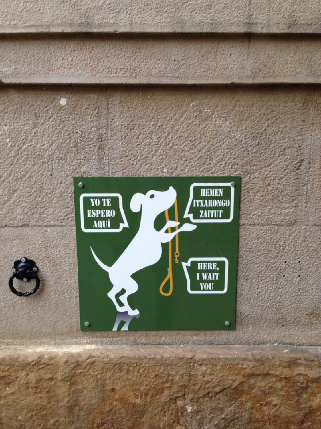 A sign asking owners to keep dogs on leashes and walking them. Instead dogs walk themselves.